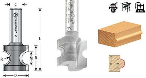 51563 Carbide Tipped Bullnose 9//16 Radius x 1-13//16 Dia x 1-1//2 x 1//2 Sh Amana Tool