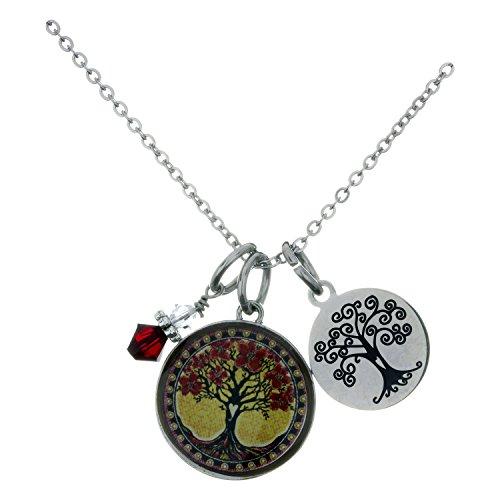 Spirit Lala Tree of Life Yellow Circular Reversible Pendant Necklace With Crystal (Crystal Circular Charm)