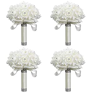 StillCool Wedding Bouquets Crystal Pearl Silk Roses Bridal Bridesmaid Wedding Hand Bouquet Artificial Fake Flowers 80