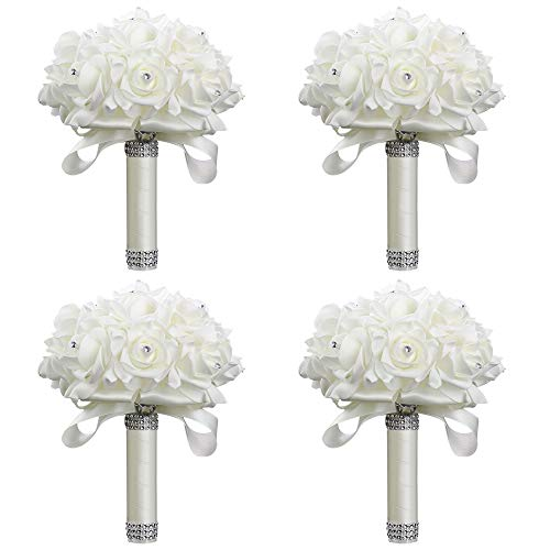 StillCool Wedding Bouquets, Crystal Pearl Silk Roses Bridal Bridesmaid Wedding Hand Bouquet Artificial Fake Flowers (18cm24cm, 4 Pack Creamy-white) (Silk Rose Bridal Bouquet)