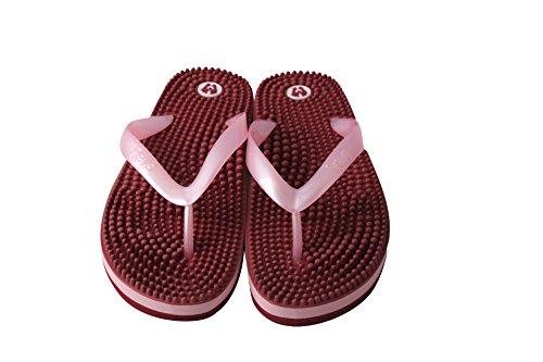 la réflexologie métallisée rose qui suivant des japonaise sandales en principes Revs pied massent le les de qpPnwH7