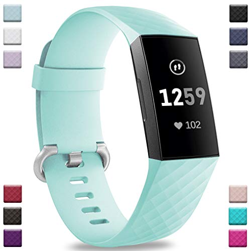 Band Mint - Hamile Bands Compatible with Fitbit Charge 3, Waterproof Replacement Watch Strap Fitness Sport Band Wristband for Fitbit Charge 3 Charge 3 & Charge 3 SE, for Women Men, Small, Mint Green