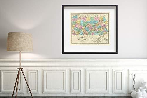 1834 Burr Antique of Pennsylvania Map|Historic Antique Vintage Reprint|Size: 20x24|Ready to Frame ()