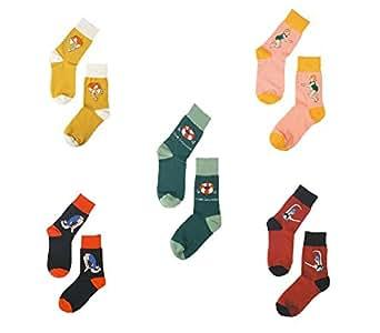 TULIPTREND Women's Swimming Series Colorful Crew Socks,Pack of 5