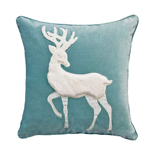 Embroidered Applique Pillow - FINOHOME Throw Pillow Covers Velvet Pillowcase Applique Embroiders Cushion Cover Soft Pillow Shams Cute Deer Decorative Pillows Protector for Sofa Bed,18 x18 Inches,Blue