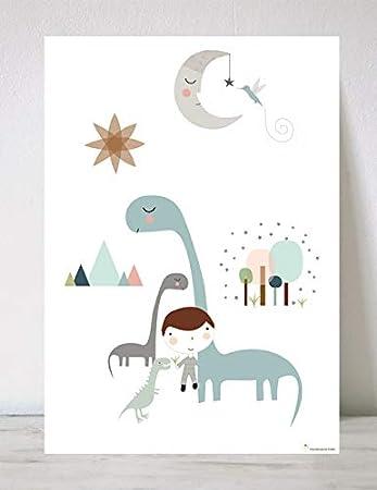 HACIENDO EL INDIO Lámina Infantil Dinosaurios niño: Amazon.es: Hogar