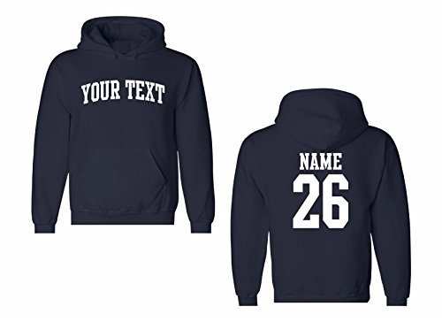 Arched Sweatshirt - Men's Custom Personalized Hooded Sweatshirt, Front Arched text, Back Name & Number