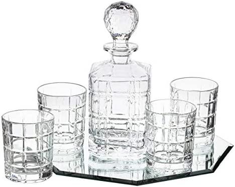 Trinkware 5-piece Crystal Whiskey Drink Drinkware Barware Set With Decanter And 4 Dof Double Old Fashioned Glasses