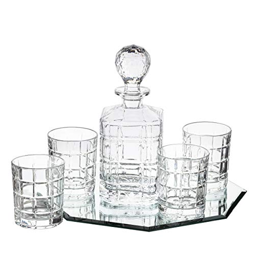Trinkware 5-piece Crystal Whiskey Drink Drinkware Barware Set With Decanter And 4 Dof Double Old Fashioned Glasses (Trays Decanter)