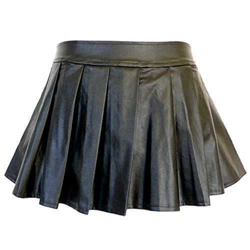 - 5209 - Plus Size PVC Faux Leather Pleated Sexy Mini Skirt Black (2X)