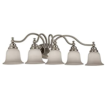 Portfolio 5 Light Brandy Chase Brushed Nickel Bathroom Vanity Light