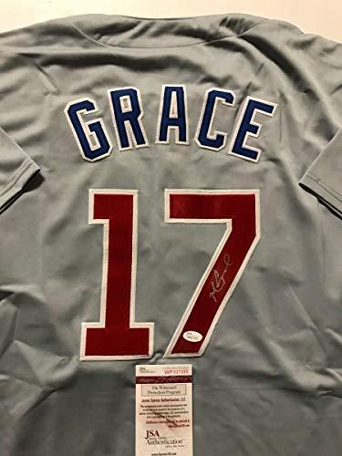 Chicago Cubs Autographed Helmets - Autographed/Signed Mark Grace Chicago Cubs Grey Baseball Jersey JSA COA