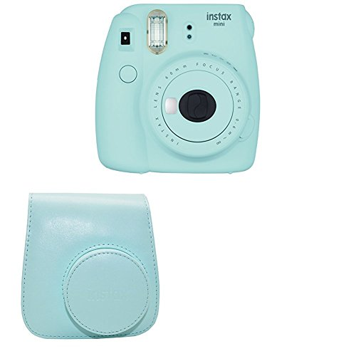 Fujifilm Instax Mini 9 Instant Camera with Instax Groovy Camera Case (Ice Blue)