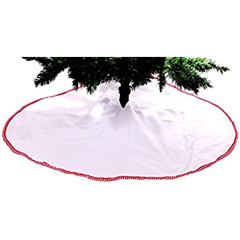"48"" White Tree Skirt with Candy Cane Striped Border"