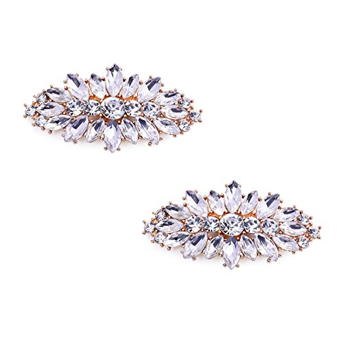 ElegantPark AW Women's Leaf Design Rhinestones Crystal Clutch Dress Hat Shoe Clips Gold 2 Pcs