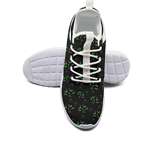 YANYANGer Lightweight Black Cats Green Light Eye Man Running Shoes Sneakers