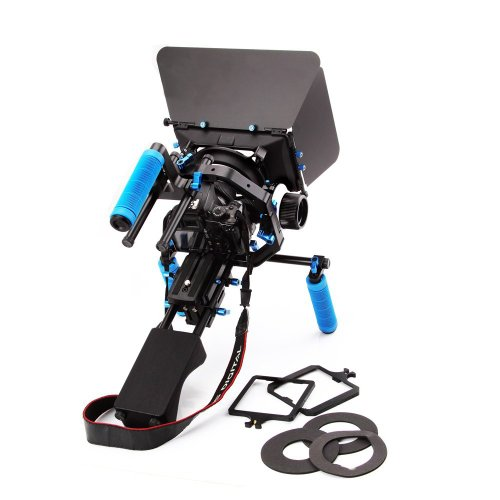 Morros DSLR Rig Set Movie Kit Shoulder Mount Rig + Follow Focus + Matte Box + Adjust Platform+ C Shape Support Cage +Top Handle for All DSLR Cameras and Video Camcorders by Morros