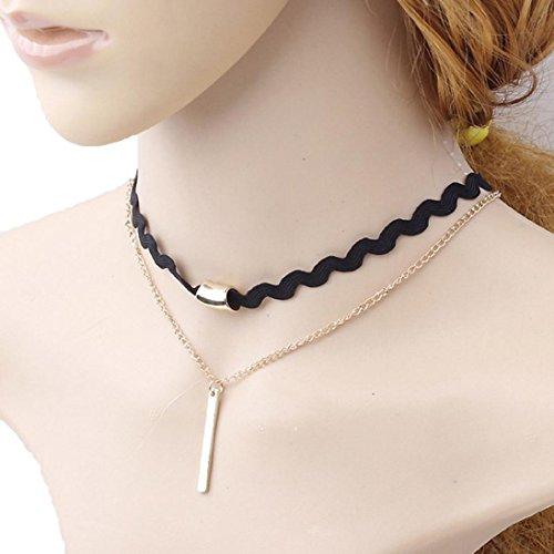 [Usstore Pendants Women Hot Sexy Black Lace Multi Layers Tattoo Choker Necklace Jewelry Gift] (Wavy Guy Costume)