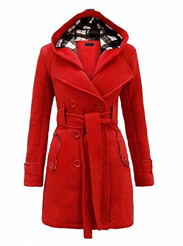 Womens Woolen Double Breasted Pea Coat Hoodie Winter Jacket L Red