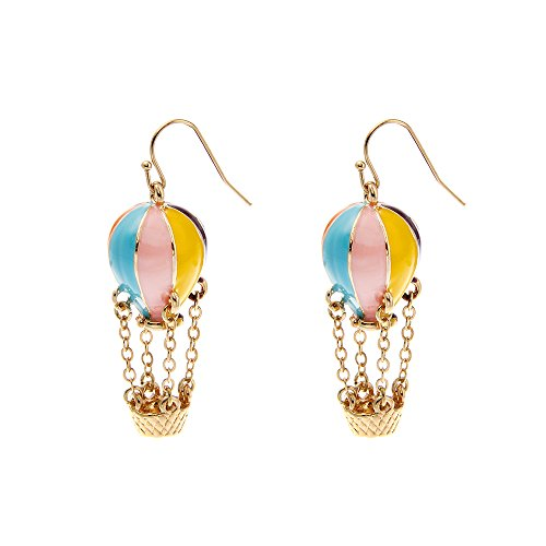 Lureme Colorful Enamel Hot Air Balloon Chained Basket Gold Tone French Hook Dangle Earrings 2002344-1