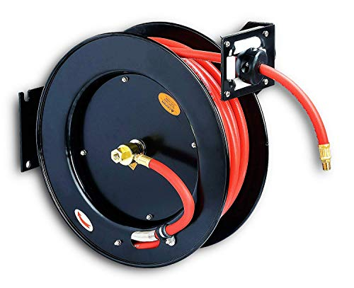 REELWORKS Air Compressor/Water Hose Reel Retractable Spring Driven Steel Construction Heavy Duty Industrial 3/8' x 50' Max 300 PSI Premium Commercial SBR Rubber Hose (Renewed)