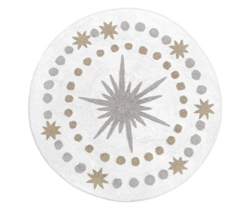 (Sweet Jojo Designs Gold, Grey and White Star and Moon Accent Floor Rug or Bath Mat for Celestial Collection)