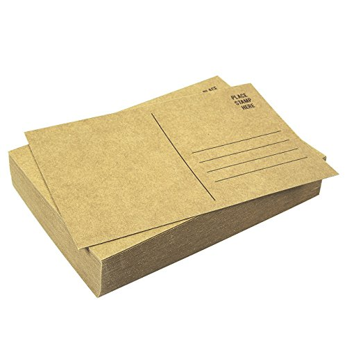 Set of 50 Brown Kraft Paper Blank Postcards Pack - Self Mailer Mailing Side Postcards 50 Pack Postage Saver - 4 x 6 Inches Photo #2
