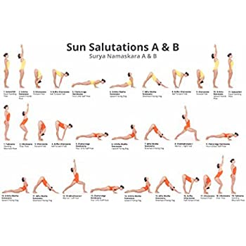 Large Easy To Read Yoga Poster Learn Sun Salutes A B