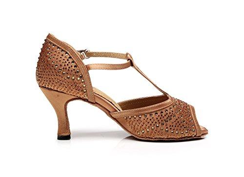 Kevin Mode Kqj7077 Kvinna T-rem Satin Latin Salsa Tango Bröllop Sandaler Brons