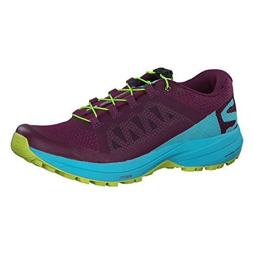 (Salomon XA Elevate Running Shoe - Women's Dark Purple/Blue Curacao/Acid Lime 8)