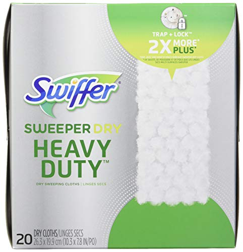 Swiffer Sweeper Dry Heavy Duty Sweeping Pad, Multi Surface Refills For Dusters Floor Mop, 20 Count