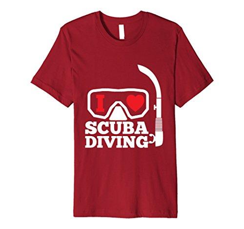 Mens I Love Scuba Diving Snorkel Mask T-Shirt Aquatic B-Day Gift Small Cranberry