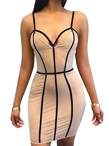 TOB Women's Sexy Bodycon Spaghetti Strap Sleeveless Patchwork Mini Club Dress Khaki (Sexy Khaki Club Dress)