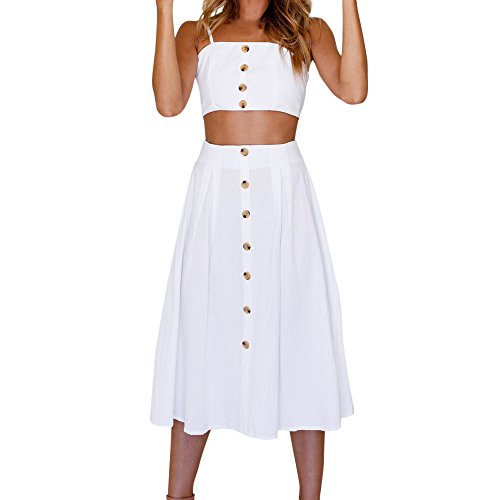 HGWXX7 Women Sexy Solid Two Pieces Backless Bowknot Dress Buttons Tops Skirt Set (S, White) from HGWXX7