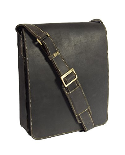 Mens Real Leather Messenger Bag Brown Vintage Shoulder Bag iPad Case Los Angeles by House of Leather
