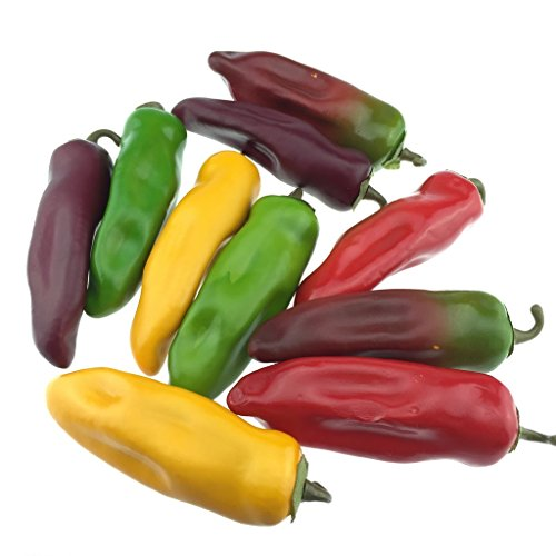 Gresorth 10pcs Artificial Lifelike Simulation Chili Fake Pepper Vegetable (Yellow, Red, Wine Red, Green, Dark Red) Each Color 2PCS by Gresorth (Image #3)