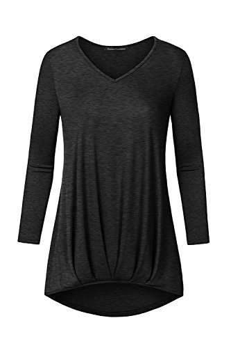 FACA Womens Pleated Bubble Hem 3/4 Sleeve High Low Tunic Top (Large, 2-Tone Black) (Pleated Bubble)