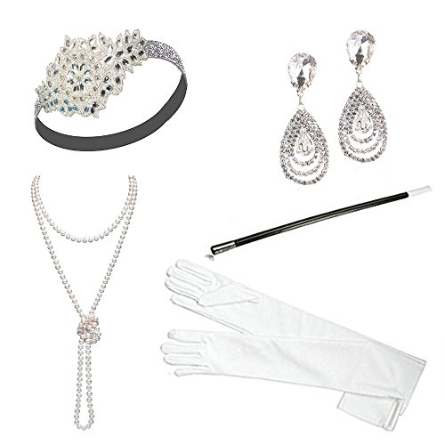 1920s Accessories Headband Necklace Gloves Cigarette Holder Flapper Costume Accessories Set for Women(ca)