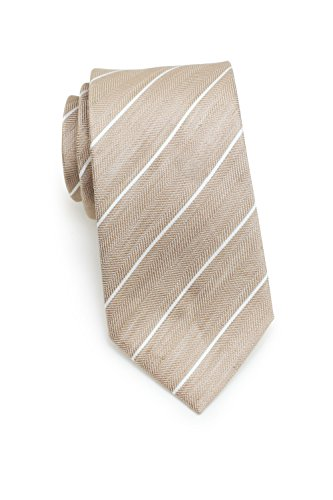 Bows-N-Ties Men's Necktie Summer Pastels Linen Skinny Matte Tie 2.75 Inches (Wheat Tan Stripes)