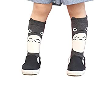 b1279184bb1 Amazon.com   MIXMAX Baby Lovely Cat Totoro Pattern Knee High Stockings Non  Slip Rubber Socks (Long