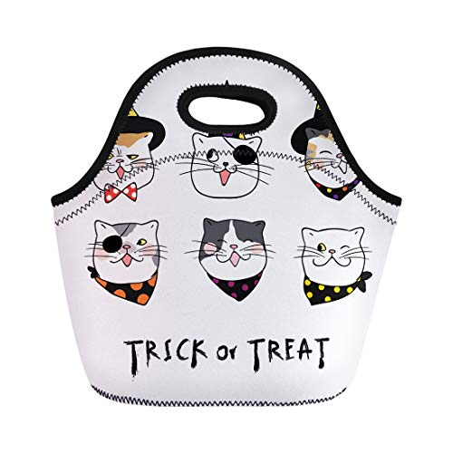 Semtomn Neoprene Lunch Tote Bag Different Emotion Face of Cat for Halloween Day Draw Reusable Cooler Bags Insulated Thermal Picnic Handbag for Travel,School,Outdoors,Work -