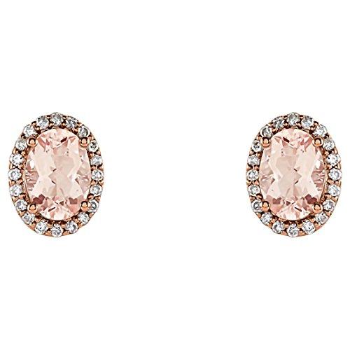 Trustmark Jewelers Natural Morganite and 1/5 cttw Genuine White Diamond Halo Stud Earrings, 14K White or Rose Gold