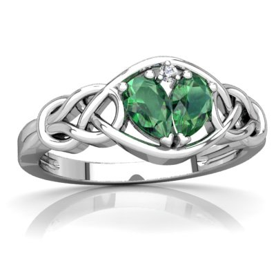 - 14K White Gold Lab Emerald and Diamond Pear Celtic Love Knot Ring - Size 7.5