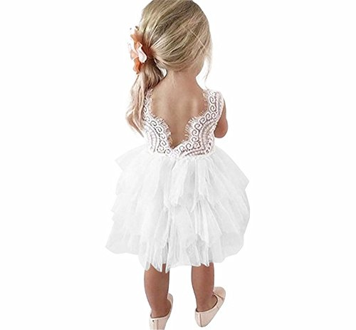 Toodler Flower Girls Lace Backless Tutu Dress A-line Tulle Beaded Party Dresses White]()