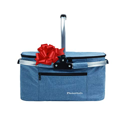 Beckworth & Co. SmartFold Picnic Basket - Foldable Collapsible Insulated Picnic Basket 32L - Blue ()