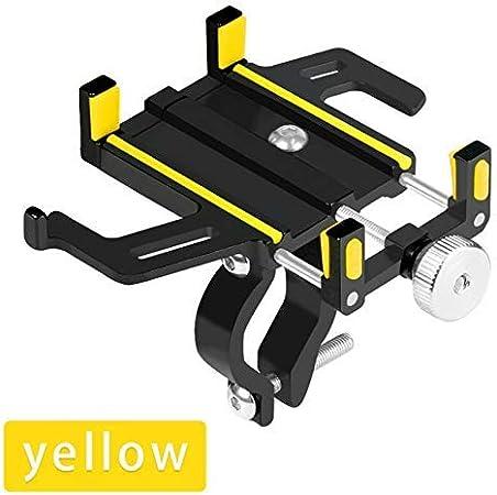 DLYGH Soporte for teléfono Aluminio Motocicleta de la Bicicleta Ajustable for Smartphone GPS de la Ayuda de la Bici MTB del Manillar Soporte del teléfono Soporte de Montaje-Blue (Color : Yellow): Amazon.es: