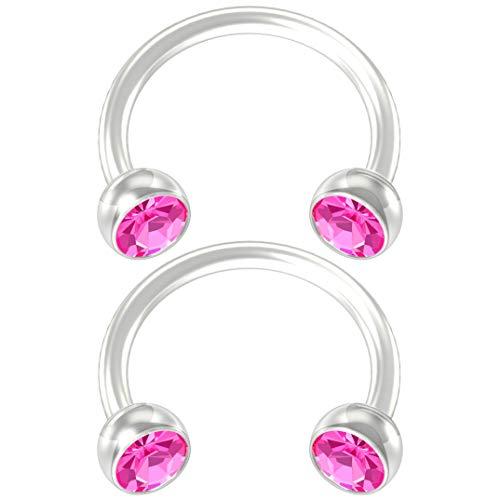Bling Unique 2pc Flexible Bioflex Circular Barbell Horseshoe Earrings Bioplast Rose Swarovski Crystal 8mm 5/16