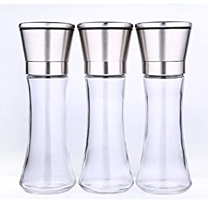 Mhhpek Stainless Steel Salt and Pepper Grinder Brushed Stainless Steel Pepper Mill and Salt Mill With Glass Tall Body