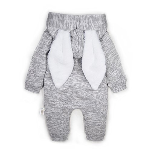 Minilove Baby Rabbit 3D Ear Hoodie Jumpsuit(Gray(R))