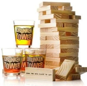 TUMBLE TIPSY TOWER SHOTS DRINKING GAME JENGA ADULT DRINK GLA